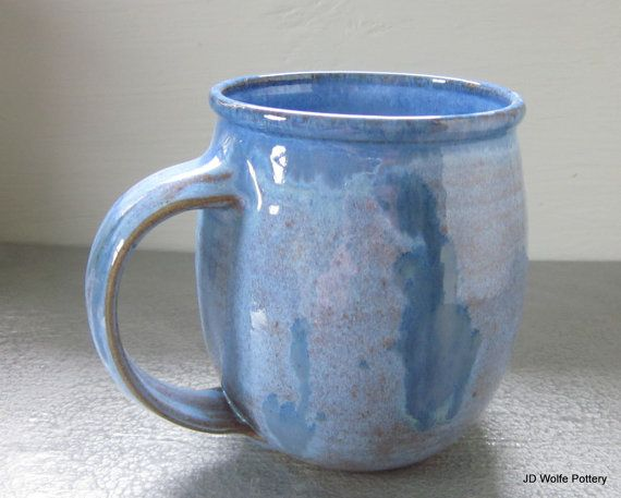 Large Blue Coffee Mug 24 Oz By Jdwolfepottery On Etsy