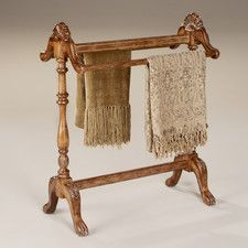 Features:  -Blanket rack.  -Horizontal rods for hanging quilts, comforters, bed spreads, duvets and blankets.  -Can also be used for hanging guest towels.  -Solid wood construction.  Material: -Wood.
