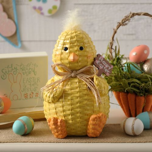 Wicker Chick with Easter Sign Statue | Kirklands