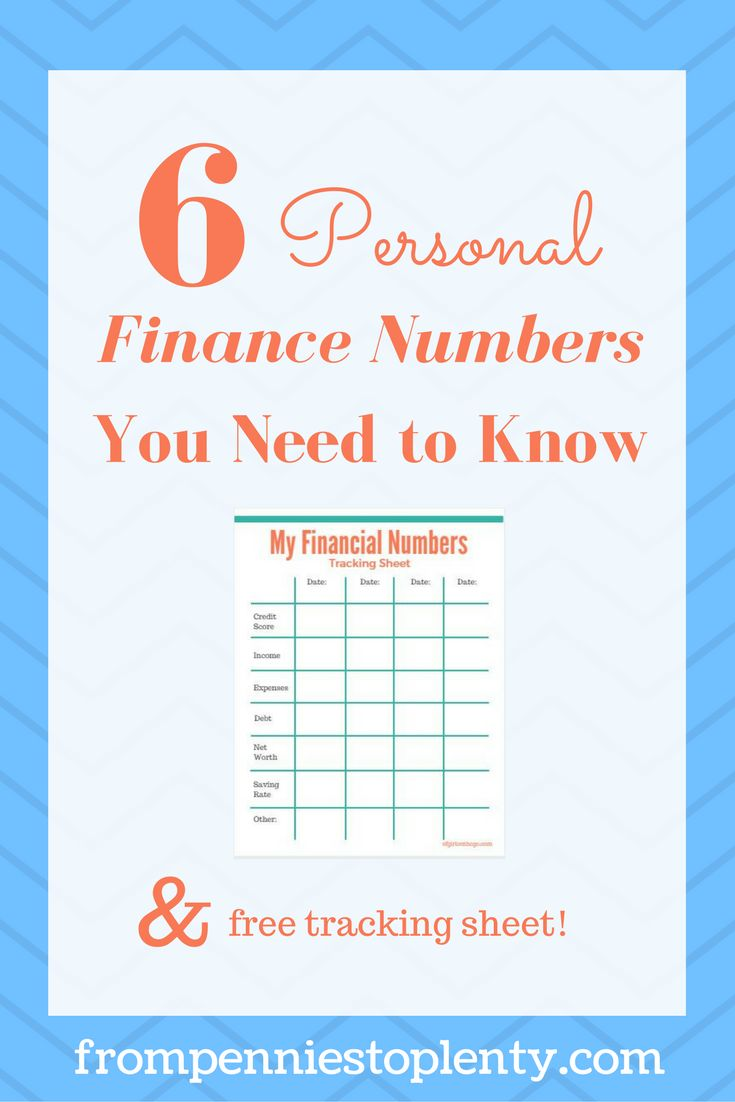 With so many personal finance numbers and terms out there, it's easy to get lost trying to figure out what you really need to know. Here are 6 numbers to know to get or keep your financial life on track, plus a free tracking sheet! / money management / frugal living