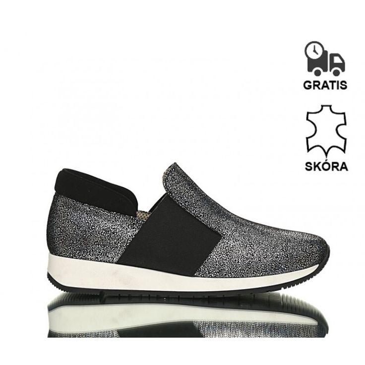 Sneakersy Czarne Srebro Disco Brocart