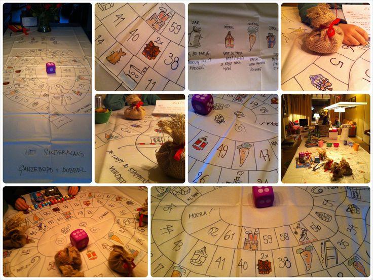 Ik ben benieuwd of mijn papieren tafellaken het voor dit jaar heeft gehaald. Het Sinterklaasspel: ganzenbord en dobbelspel in één. En anders maken we gewoon weer een nieuwe.