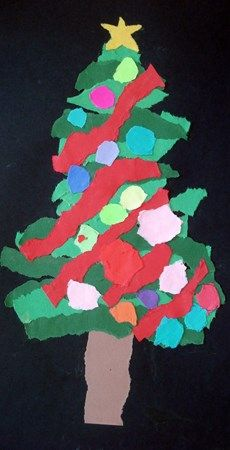 torn paper evergreens. Do this on a large scale for the door decorating contest?