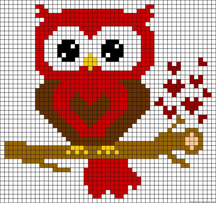 Heart owl red