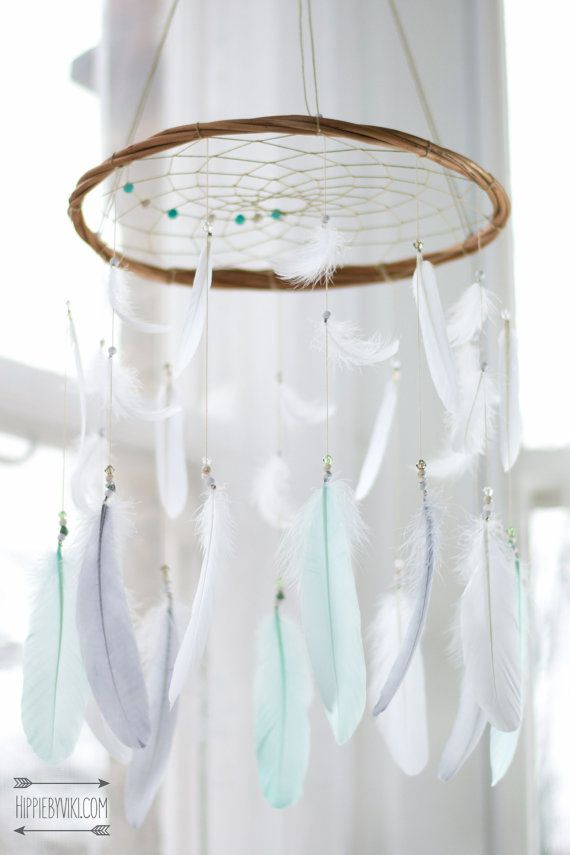 Menthe, blanc & gris Boho Dream Catcher Mobile - Dream catcher Mobile Boho Bohème Mobile Tribal crèche crèche bébé fille bébé garçon