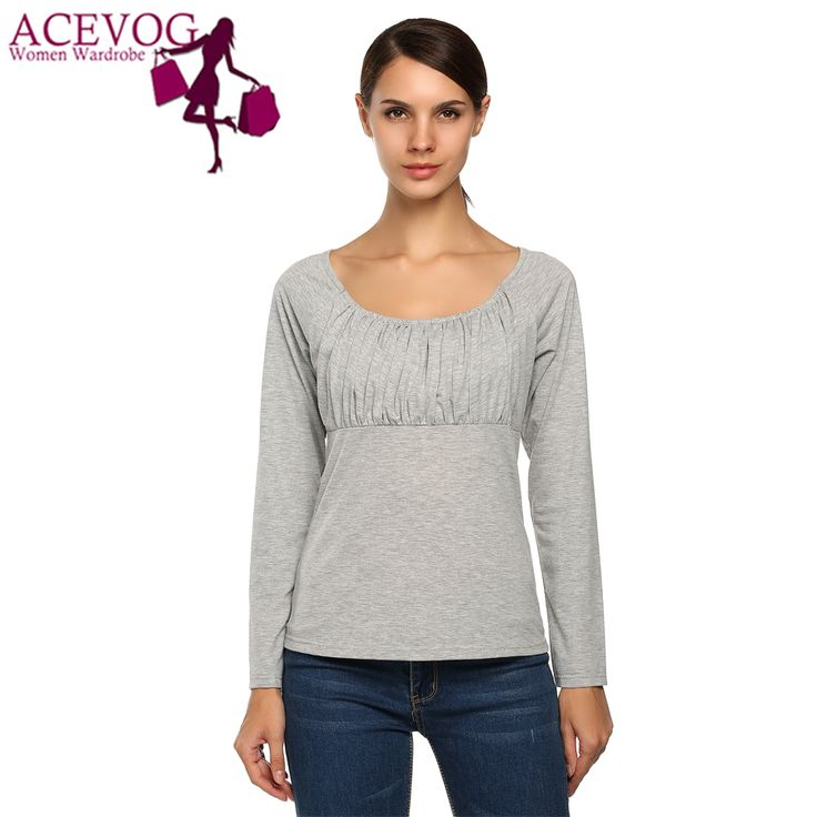 ACEVOG New Fashion  Winter Autumn T Shirts Women Tops Plus Size S-XXL Casual Long Sleeve O-Neck T-shirt Women Basic T Shirts #Affiliate