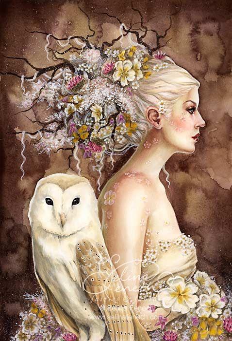 "Gods Goddesses Legends Myths:  The Welsh #Goddess ""Blodeuwedd in Bloom,"" by Selina Fenech."