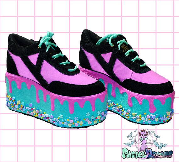 Candyholic YRU drippy platforms cupcake candy custom made shoes one of the kind, Pastel Goth, Fairy Kei, Kawaii,cute,harajuku, alternative