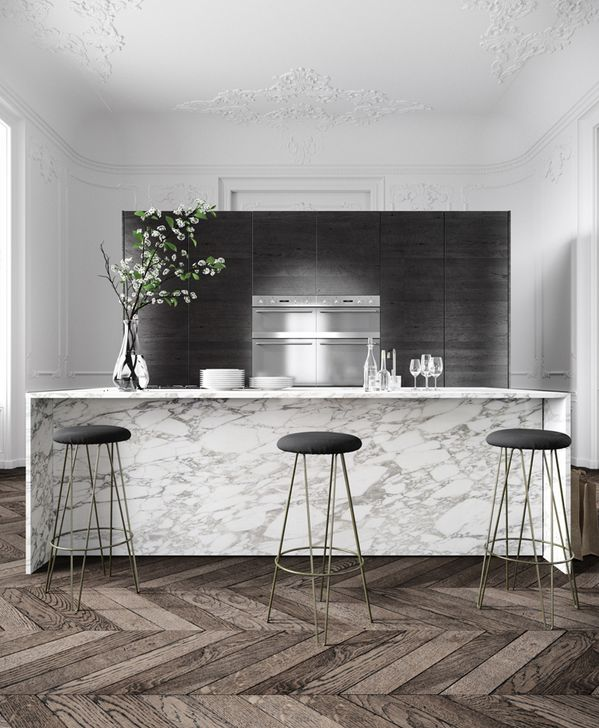 Gorgeous gray marble bar counter, wire hairpin leg bar stools, dark herringbone wood floors and dramatic white crown molding -- this kitchen design and decor couldn't be more chic!