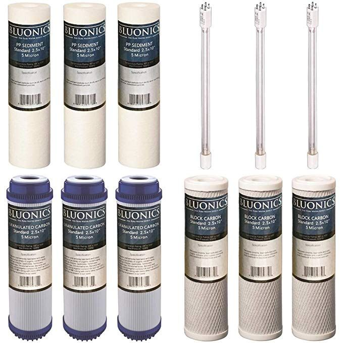 Bluonics 12 Pc Replacement Water Filter Set For Our 4 Stage Uv
