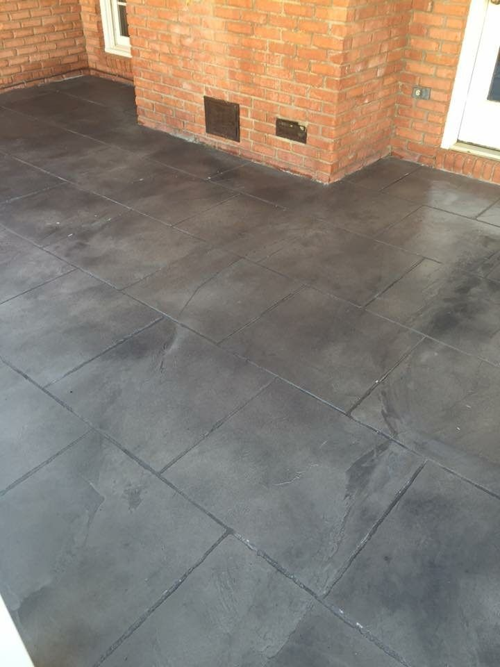 stamped concrete kitchen floor. stained stamped concrete transform
