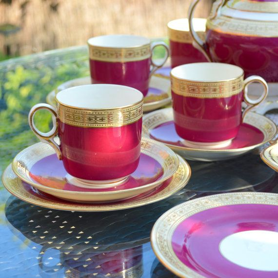 Victorian 18 Piece Tea Set 6 Cup Saucer and Plate by Wicksteads