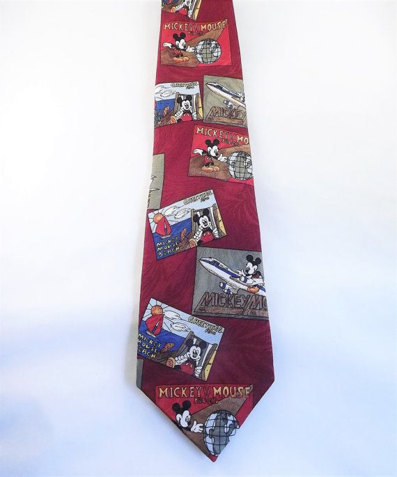 Mickey Mouse Tie, Mickey Mouse World Traveler Necktie, Mens Colorful Novelty Tie,l Funny Gag Tie by ForsythiaHill