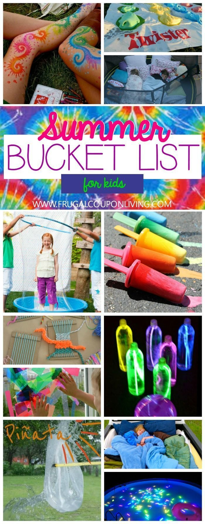 Visual Summer Bucket List for Kids on Frugal Coupon Living - Crafts, DIY, Activities and more.