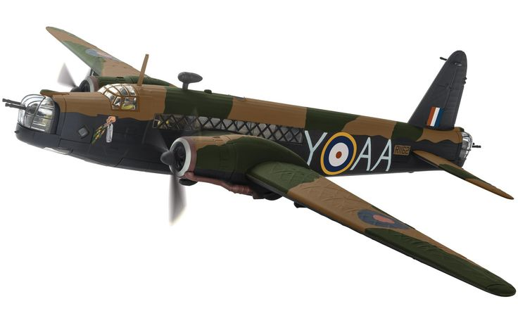 Corgi 1:72 Vickers Wellington Diecast Model Airplane AA34811 This Vickers Wellington 1C R1162 `Y for Yorker` Diecast Model Airplane has working gun turret, propellers and also comes with a display stand. It is made by Corgi and is 1:72 scale (approx. 35cm / 13.8in wingspan). As Britain declared war on Germany in 1939, The Vickers Wellington twin engined medium bomber was the most advanced aircraft of its type in the RAF and would be called upon to shoulder a heavy burden in early bombing…