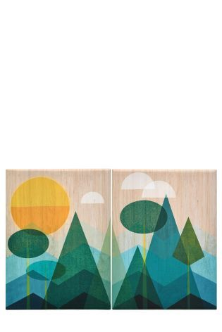 Set Of 2 Large Contemporary Landscape Canvases