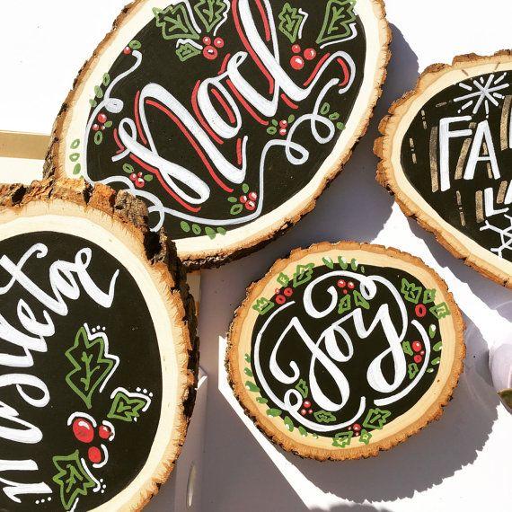 Wood Slice Chalk Paint Set of 3 | Christmas Decorations, Holiday, Noel, Joy, Mistletoe, rustic, chalkboard, disc, log, reclaimed