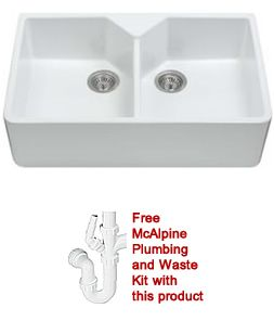 Ness - 2.0 Ceramic Double Bowl Belfast Style Sink - Includes free McAlpine waste & Plumbing kit - DIY Kitchens