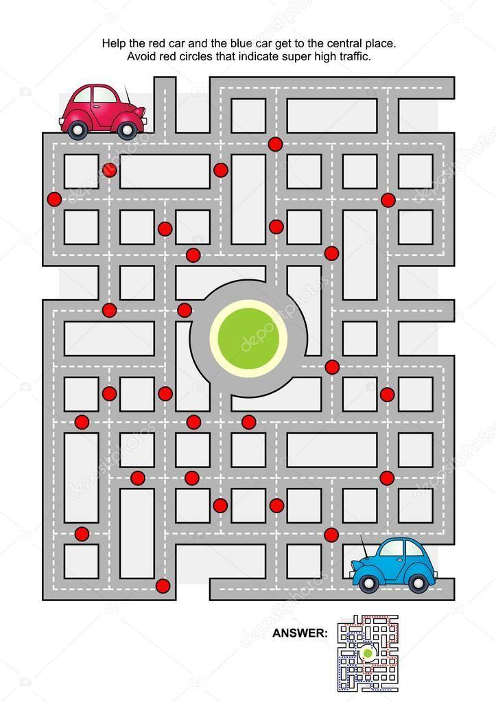 Juego laberinto: ayuda el coche rojo y el azul coche llegan al lugar central. Ev…