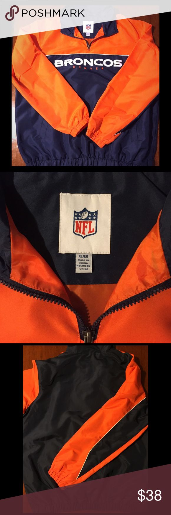 ‼️🏈TOUCHDOWN SALE‼️Denver Broncos Pullover Jacket Brand New NEVER Worn Denver Broncos pullover Jacket                                                                                        -Shell 100% Polyester.                                                             -Lining 100 % Polyester.                                                             Team name embroidered on the front. Product of the NFL. Side zipper for added ease to put on and remove jacket. Very warm but lightweight…