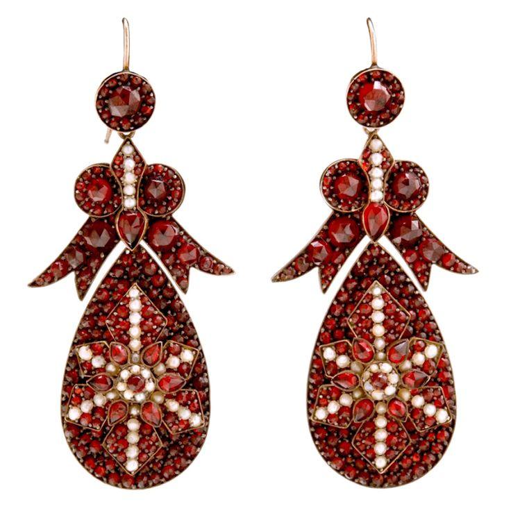 Spectacular Antique Bohemian Garnet Earrings | From a unique collection of vintage chandelier earrings at https://www.1stdibs.com/jewelry/earrings/chandelier-earrings/
