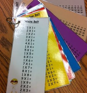 "Motivation for learning multiplication facts. Earn your ""multiplication karate belt"". Could work for addition and subtraction facts... or even sight words!"