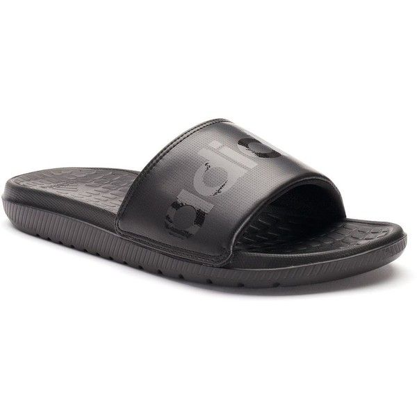Adidas Voloomix Men\u0027s Slide Sandals ($20) ? liked on Polyvore featuring  men\u0027s fashion,