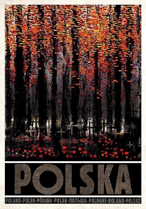 POLSKA, Zaduszki, polski plakat turystyczny