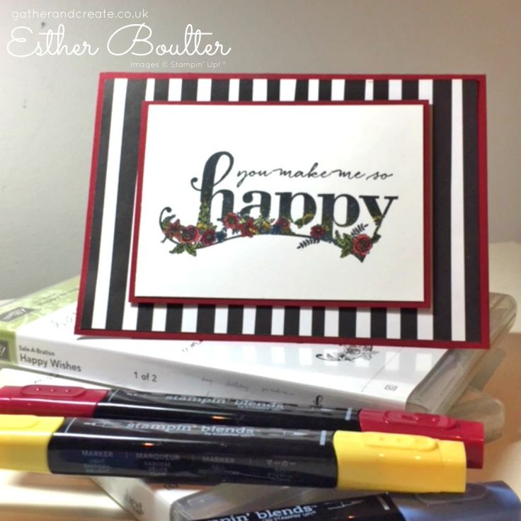 Card made using Stampin' Up! Happy Wishes Sale-a-Bration Stamp set and coloured with Stampin' Blends. Earn the stamp set for free- check the blog for details. Esther Boulter - Gather and Create