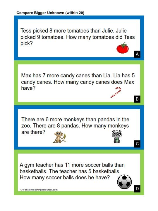 1st Grade Number Math Words Math Word Problems Addition Words Solving for unknown worksheets