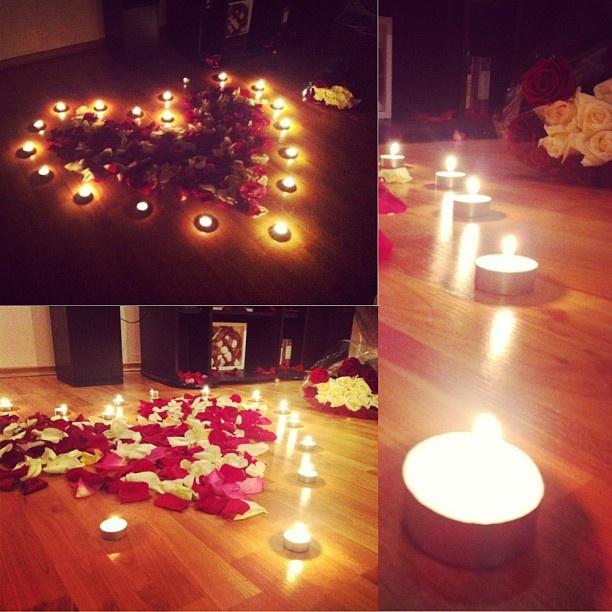 #romantic #candles #petals