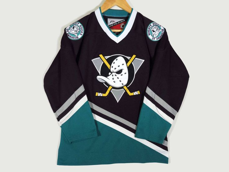Vintage 90s Anaheim Mighty Ducks Hockey Jersey - Small - NHL - Pro Player - Disney - Vintage Clothing - Sports Jersey - Rare Vintage Clothes by BLACKMAGIKA on Etsy