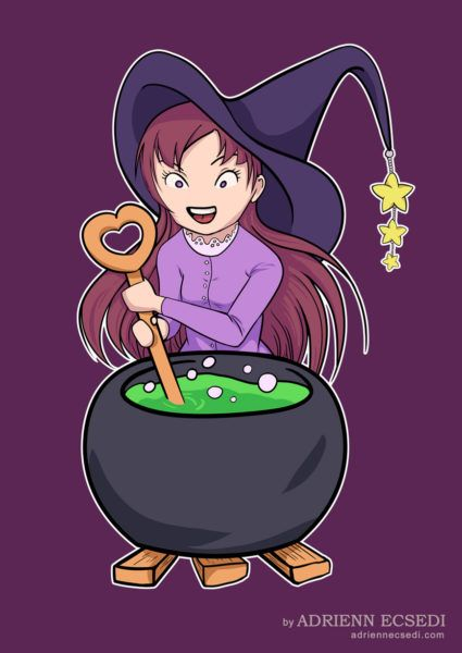 Little Witch Makes Potion - Happy Halloween 2016! Art by Adrienn Ecsedi, adriennecsedi.com