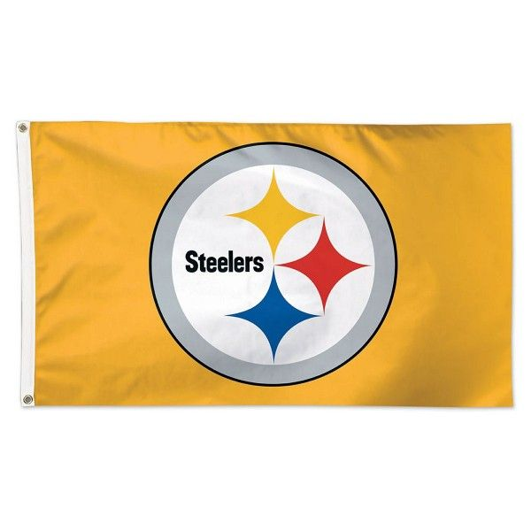Pittsburgh Steelers Gold Flag measures 3'x5', is made of 100% poly, has quadruple stitched sewing, two metal grommets, and has double sided Team logos...