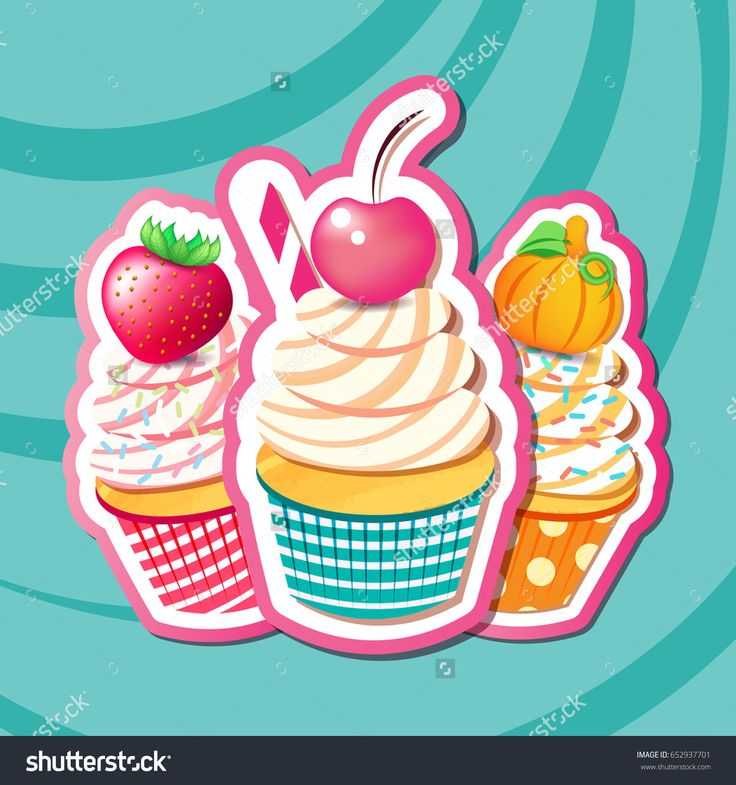 Vector illustration of cupcakes with cherry, strawberry, pumpkin