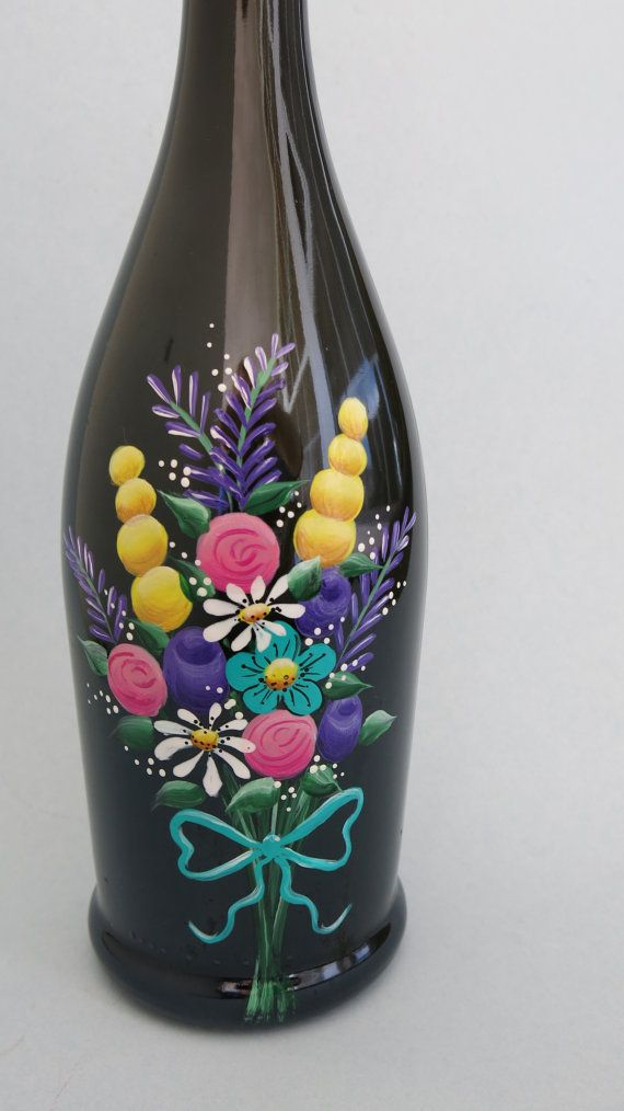 Painted Wine Bottle Flowers Wine Bottle Lighted by MyPaintedSwan
