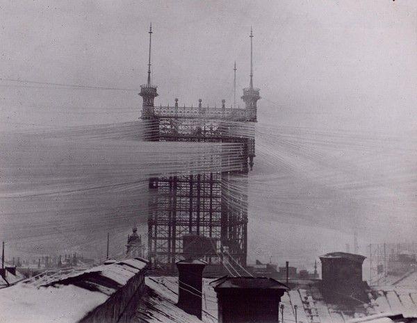 Uma torre de telefone em Estocolmo em 1890.