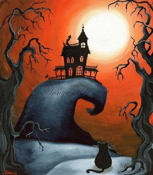 HALLOWEEN Haunted House Painting Print - Fall Autumn House Decor for 2013 - by Annya Kai