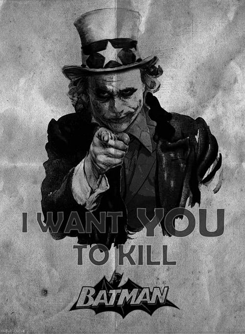 Joker - the only villain loved more than the hero!! However, I can't help it, I'm sooo glad Batman wins in the end!! It's just me!! I can't let the bad win!!.. 'It's a Kingdom of conscience or a Kingdom of Nothing'..