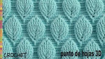 Lindo punto tejido a crochet en 3D con diseño de hojas en relieve intercaladas. Este punto es múltiplo de 17 + 3 cadenas y se repiten 20 hileras para tejerlo...