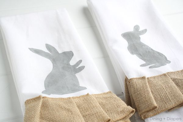 Hand Painted Easter Tea Towels by designdininganddiapers.com