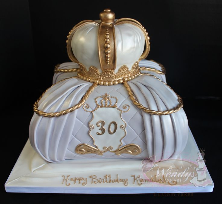 www.wendyscakeart.com Pillow cake, crown, edible crown, fondant crown, 30th birthday cake, lavender cake, gold cake