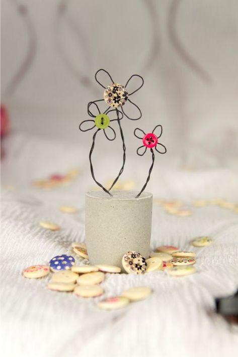 Sensationelle Idee: Blumen basteln mit Knöpfen - super ...