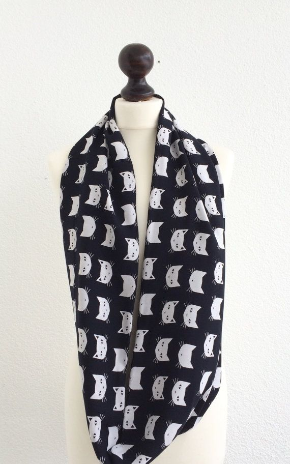 Cat Scarf Printed Scarf Black White Cat Scarf Cats by designscope