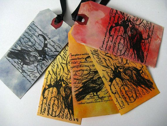 5 Distressed Gift Tags Nevermore Set of 5 Raven by MouseGarden