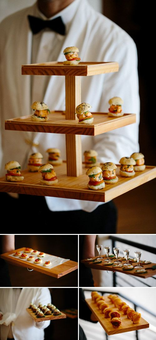 Adorable mini bites by Peter Callahan Catering at woodland inspired Brooklyn wedding - Elizabeth Duncan Events and Gulnara Studios | via junebugweddings.com