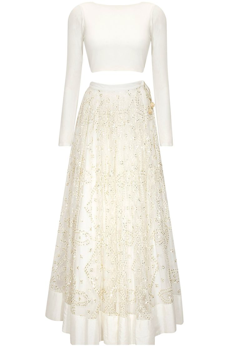 White sequins embroidered lehenga with crop top available only at Pernia's Pop-Up Shop.