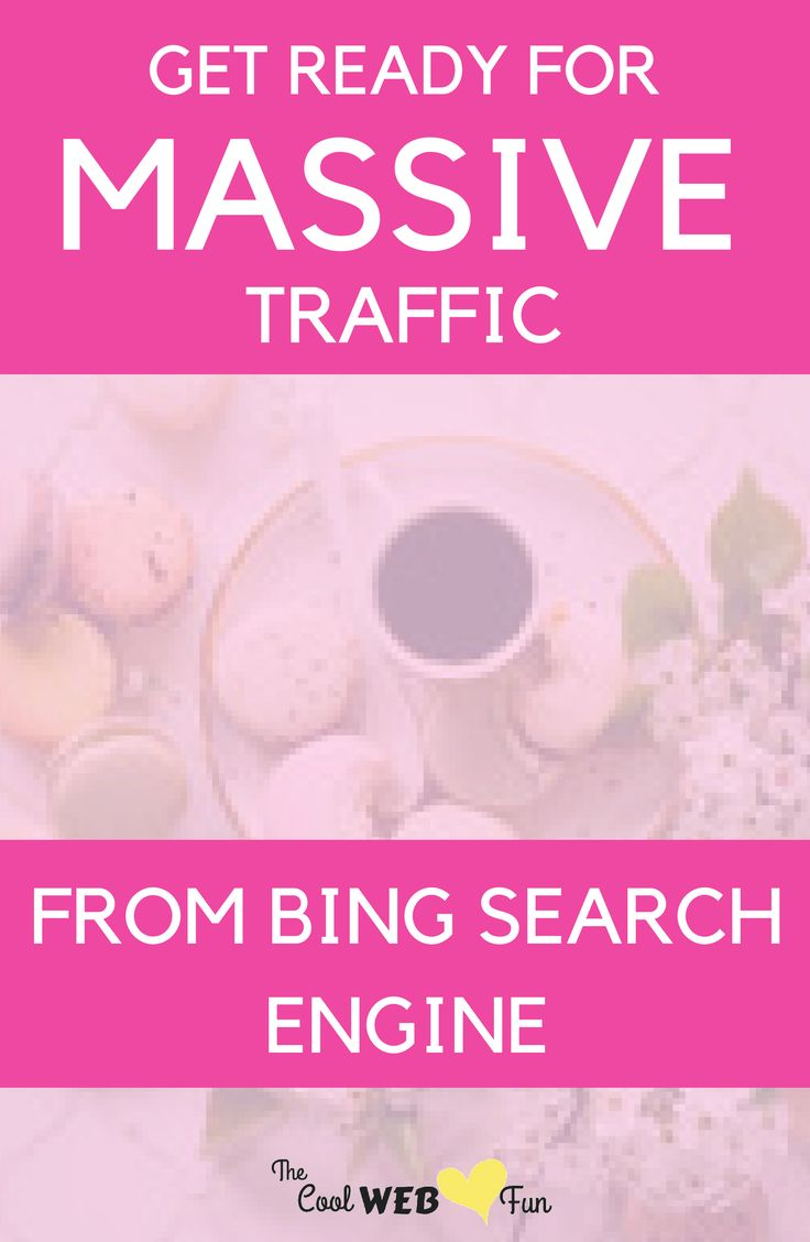 Bing search engine optimization. Get ready to get massive website traffic from Bing search engine. http://www.coolwebfun.com/bing-search-engine-submission/