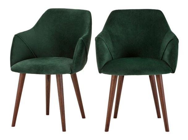 2 x Lule High Back Carver Chairs, Pine Green Velvet