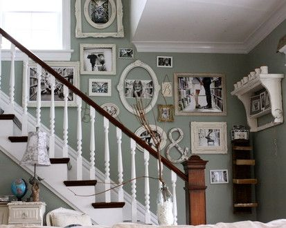 Family Photo Wall, Eclectic Staircase, Chicago